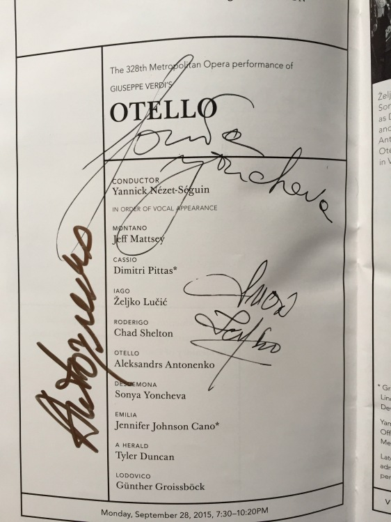 Otello cast autographs